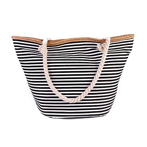 RETON Gestreifte Leinwand Strandtasche Einkaufstasche Oversize Tote Umhängetasche für Frauen und Männer (Klassisches Schwarz) - Gestreifte Leinwand