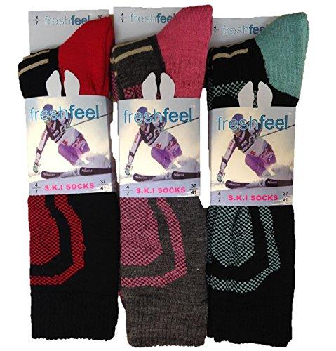 Freshfeel Damen Ski-Socken, 3er-Pack, Gr. 37-41 (Thermische Boot-socke Gepolsterte)