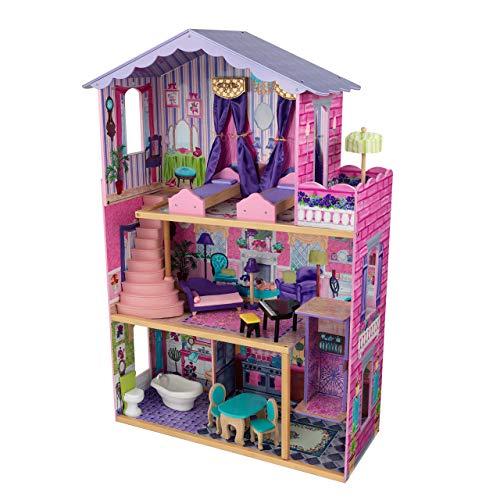 kidkraft-my dream mansion casa de muñecas de madera con muebles y accesorios incluidos, 3 pisos, para muñecas de 30 cm , color multicolor (65082)