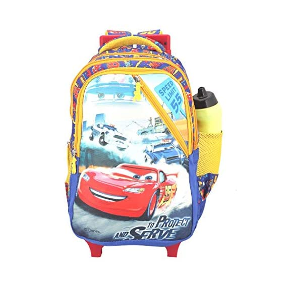 Disney School Bag, Backpack Cum Bag with Trolley/for Boys 07+ Years Pixar Car Serve & Protect Cross Chain 31 (L) Polyester (Dat-700-17), Colour: Blue