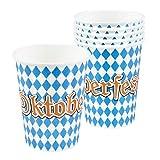 Party Palast Oktoberfest Décoration 6 gobelets en Carton Blanc Bleu 25 cl