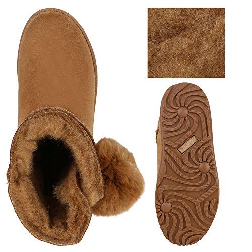 Stiefelparadies Damen Schuhe Schlupfstiefel Boots Warm Gefüttert Flandell Hellbraun Bommel
