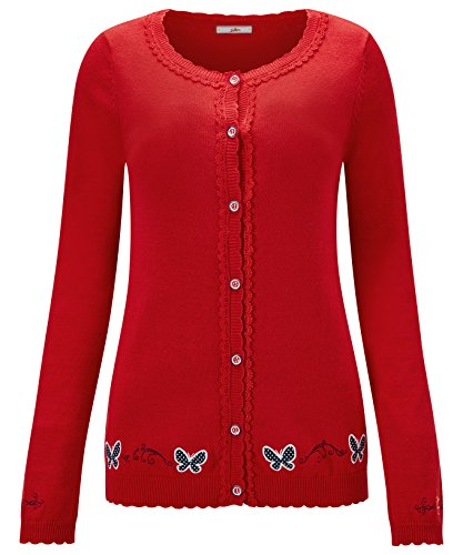 Eine Gestickte Strickjacke (Joe Browns Damen Strickjacke mit gesticktem Schmetterling-Motiv Rot 38)