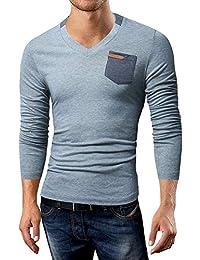 HLH T-Shirt con Scollo A V A Maniche Lunghe da Uomo con Taschino A Maniche  Lunghe 6a231f466c4c