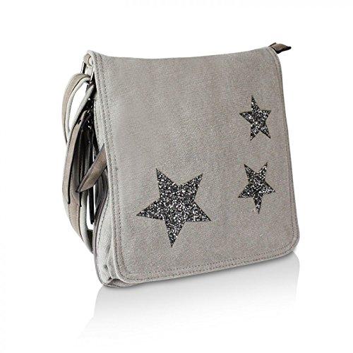 Glamexx24 Elegante borsa a tracolla o in mano con strisce di diversi colori Blu