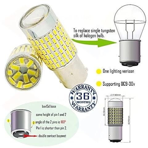 Wiseshine 6000k bax15d led ampoule DC9-30v 3 ans d'assurance de la qualité (paquet de 2) bax15d 144smd 3014 blanc pur