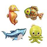 TOYMYTOY 4 Stücke Riesen Meer Tierballons Cartoon Mylar Folienballon Hai Octopus Sea Horse Tropische Fisch Ballons für Kind Party Dekoration
