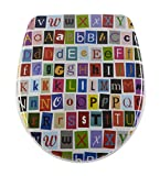 Diaqua Nice Slow-Motion 31171238 WC-Seat with Letters Design 40.5 - 46 x 37.5 cm, Multi-Coloured