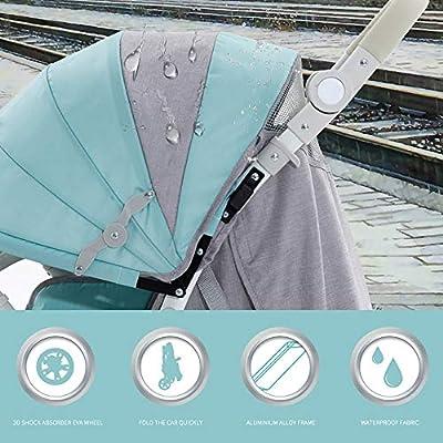 XYL Carro Plegable Doble para niño/bebé Silla de Paseo con una combinación de Canasta de Almacenamiento Grande Arnés de Cinco Puntos Tragaluz Grande Cochecito cómodo