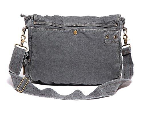 Herren Damen Schultertasche Canvas Vintage Handtasche Canvas Leder Retro Aktentasche Vintage Canvas Tasche Schwarz-Grau