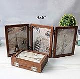 Xshelley rétro Home Bijoux, Cadeaux, 3Solid Woodframe double Cadre pliant double face, cadre photo 180degrés de rotation, Creative Studio photo Album, Bois dense, Retro 4X6