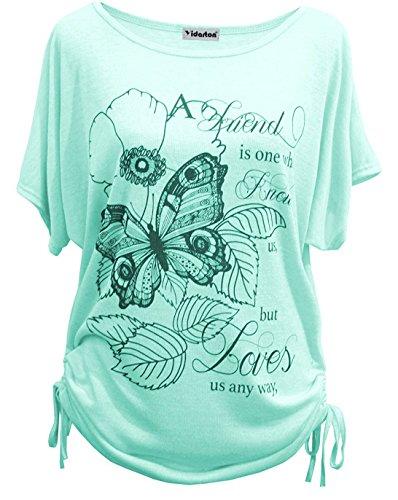 Yidarton Damen Bluse Sommer Kurzarm Oberteile Muster Jumper Lose Hemd Tops T-Shirt Mit Druck (Gruen,XL)