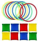 OOTSR 16pcs Nylon Bean Bags e Anelli di plastica, Toss Game Set per Bean Bags Toss Game Booth Carnival Garden Backyard Giochi all'aperto Giochi di velocità e agilità di Allenamento