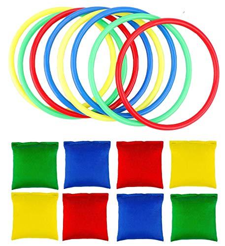 OOTSR 16 stücke Nylon Sitzsäcke Ringe Werfen Spiel Sets für Kinder, Sitzsäcke Werfen Legged Race für Indoor Outdoor Familien Spiel