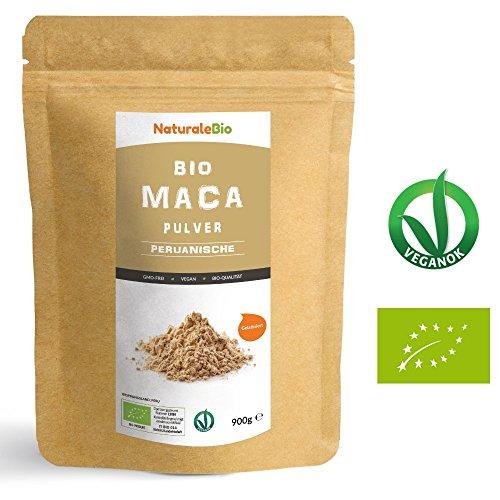 Maca Pulver Bio [ Gelatiniert ] 900g | Natürlich und Rein, hergestellt in Peru, extrakt aus Bio Maca Wurzel | Superfood reich an Aminosäuren, Ballaststoffen, Vitaminen und Mineralien | NATURALEBIO