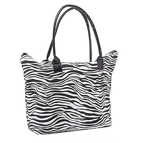 Ladies Womens Shopping Shoulder Carrier Bag Summer Beach Bag Animal Print (Zebra)