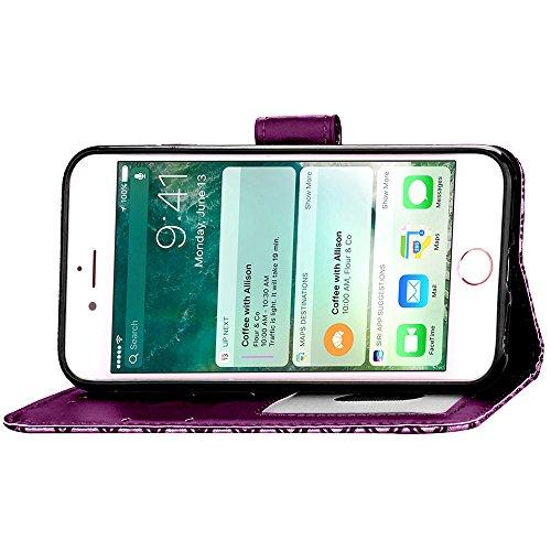 Apple iPhone 6 Plus/6S Plus 5.5 Coque, Voguecase Étui en cuir synthétique chic avec fonction support pratique pour Apple iPhone 6 Plus/6S Plus 5.5 (léopard-Jaune)de Gratuit stylet l'écran aléatoire un léopard-Violet