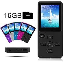 Crillutar Cómodo 16GB MP3/MP4 Reproductor Música/Multimedia Reproductor/Grabación de Voz con Botón de Bloqueo Independiente,Incluye 16GB Tarjeta Micro SD,Visor de Fotos Compatible y E-Book(Negro)