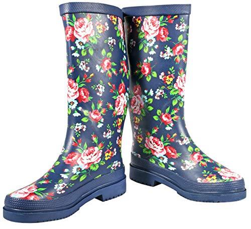 Ultrapower Damen Gummistiefel | Lustige Langschaft Gummi Schuhe | Rosen Design Garten-Stiefel | Matschstiefel | Festivalstiefel, Größe:37 / UK 4, Farbe:Julia -