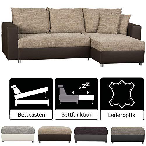 CAVADORE Schlafsofa Caaro mit Recamiere links oder rechts / Couch mit  Schlaffunktion und Bettkasten / Materialmix mit Kunstleder / 233 x 146 x 69 / Hellbraun-Braun -