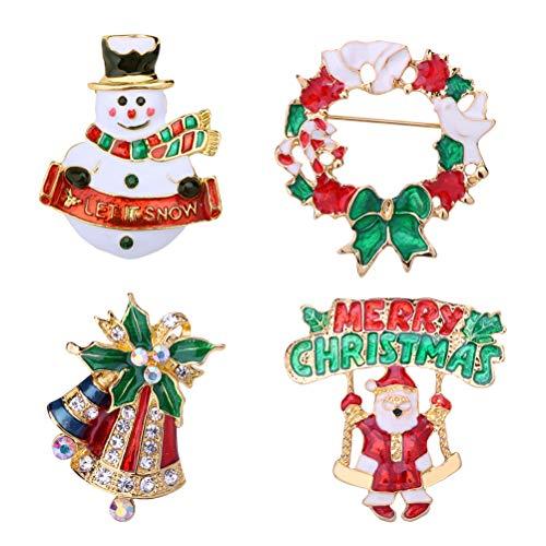 HEALIFTY Weihnachtsbrosche Set 4 stücke Weihnachten Brosche Strass Kristall Brosche Breastpin Party Schmuck Kleidung Zubehör Weihnachtsgeschenk