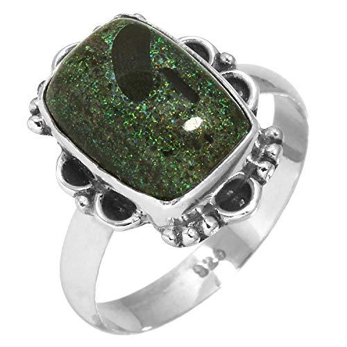 Jeweloporium Solide 925 Sterling Silber Stilvolle Schmuck Natürliche Honduras Schwarz Matrix Opal Edelstein Ring Größe 63 (20.1) (Honduras Silber Schmuck)