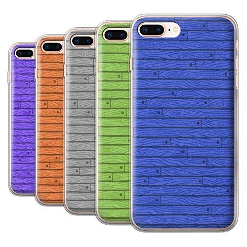Stuff4 Gel TPU Hülle / Case für Apple iPhone 8 Plus / Orange Muster / Holz-Muster Kollektion Pack