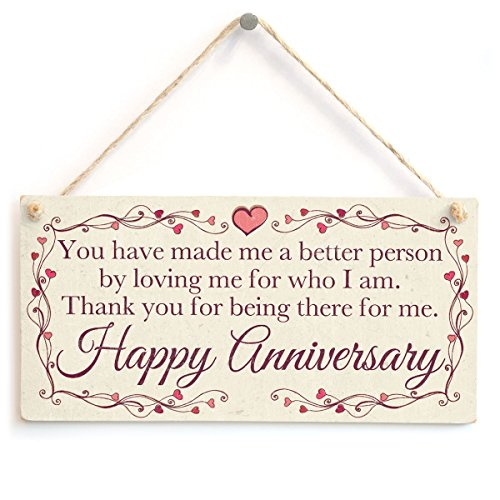 Meijiafei Schild Happy Anniversary to The Man I Want Beside me Every Night for The Rest of Forever I Love You für Ehemann oder Partner 10
