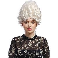 WIG ME UP ® - 91029-ZA62 Parrucca Donna Carnevale Barocco Storico Nobile Bianco  Maria 050548ee455