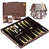 Peradix Backgammon 46.7 * 38.2CM et Dames et Jeu d'echecs 3 en 1 Jeu de Tactique Éducation Conseil pour Enfants ou Adultes(3 en 1)