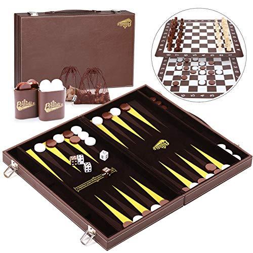 Peradix Gran Clásico Backgammon Set Premium de Piel Sintética, 38.2×23.2cm, con Tablero de Ajedrez y Juego de Damas Jugar Estera, 4 Jugadores