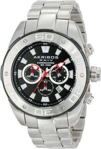 Akribos XXIV Ark CARD 002 Conqueror-Cronografo da uomo al quarzo, quadrante nero, argento, cinturino in acciaio INOX