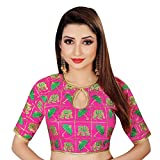 Spangel Fashion Elephant & Umbrella Embroidered Work Round Neck Women's Ready Made Saree's Blouse(Color_Pink, Green)