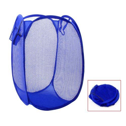 SODIAL(R)Canasto Cesta de lavanderia de almacenamiento de ropa diseno reticular azul plegable casa
