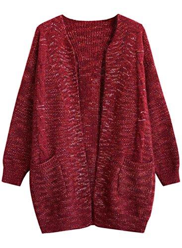 Futurino Damen Winter/Herbst Warme Knit Strickwear Lässige Taschen Offener Strickmäntel Wintermäntel Cardigan Mantel (One Size, Burgund) (Burgund Strickjacke)
