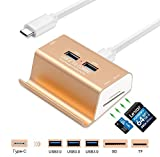 gzcrdz USB 3.0Card Reader + 3-Port-USB 3.0Hub + Halterung, Super Speed Slots Aluminium USB-c 3.0Combo, SD/TF/MicroSD Card Reader Hub für MacBook/Laptop/Tablets/Mehr der U89Geräte Gold