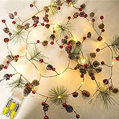Christmas LED Fairy String Garland with Pine Cones & Berries Indoor /Outdoor Battery Operated