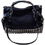 Jeune Lueur - Bolso bandolera para mujer con tachuelas y remaches, color Negro, talla Medium
