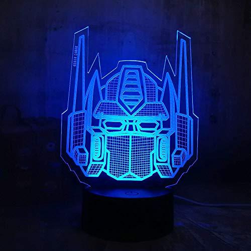 WangZJ 3d nachtlicht für kinder / 3d illusion nachtlicht/acryl flach/für mädchen weihnachten/wohnkultur/abs basis/cool optimus prime