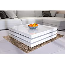 Deuba® Rotatable Coffee Table, High Gloss White - Modern End Side Snack Tea Table Living Room Furniture Square Storage Extendable 3 LAYERS - 80x80 cm
