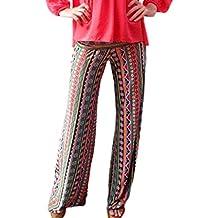 Bigood Pantalon Eté Femme Plage Voyage Yoga Sport Jogging Casual Imprimé  Long d8d11c517af4