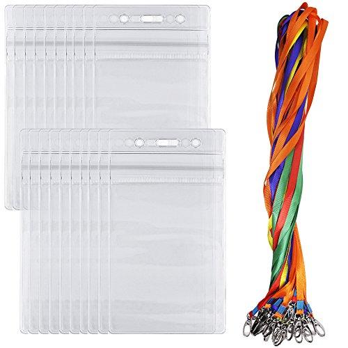 Afunta 20 PCS ID-Kartenhalter mit farbigen Schlüsselbändern, wiederverschließbaren Reißverschluss, mit Swivel Haken Befestigung Lanyards - Rot, Gelb, Blau, Grün, Orange Horizontale Vinyl Pouch