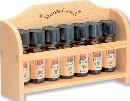 Saunaöl-Set-klein, holzregal mit 7 x 10 ml Saunaöl sortiert
