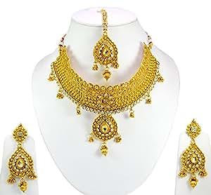 Gauri's Indian Traditional Bridal Gold Plated Kundan Work Jewellery Necklace Earrings Tikka Set