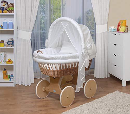 WALDIN Baby Stubenwagen-Set mit Ausstattung,XXL,Bollerwagen,komplett,44 Modelle wählbar,Gestell/Räder natur unbehandelt,Stoffe weiß