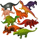 "Prextex Realistic Looking 7"" (18cm) Dinosaurs Pack of 12 Large Plastic Assorted Dinosaur Figures"
