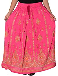 Attire Fashion Bollywood Ladies Indian Sequin Long Skirt Rayon