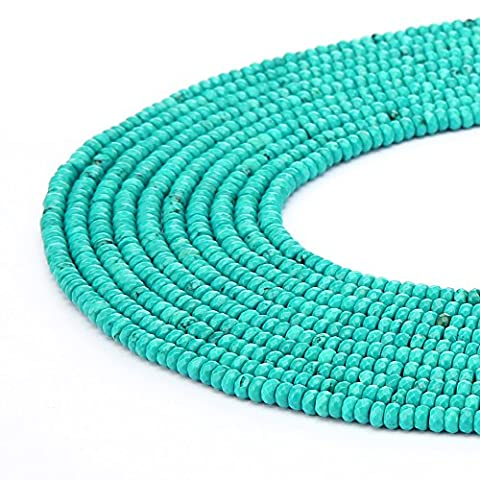 BRCbeads Gorgeous Natural Green Turquoise Gemstone Faceted Roundell Loose Beads3*4mm Approxi 15.5 inch165pcs 1 Strand per Bag for Jewelry