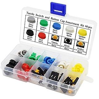 Aussel taktiler Druckschalter Mikro-Momentum Takt Assortment Kit mit bunten Knopf-Kappen (60PCS)