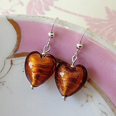 Diana Ingram topaz Murano glass small heart (13mm) earrings on